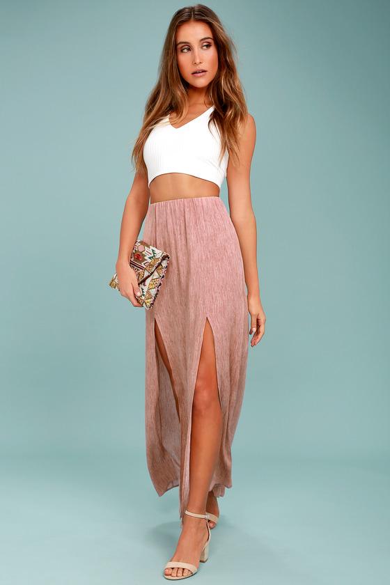 Guide Me Home Blush Pink Maxi Skirt 1 - Cute Blush Pink Maxi Skirt - Mineral Washed Skirt