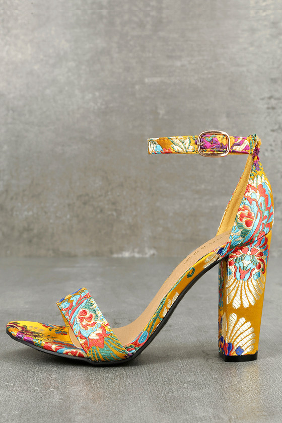 Veda Yellow Floral Brocade Ankle Strap Heels 3
