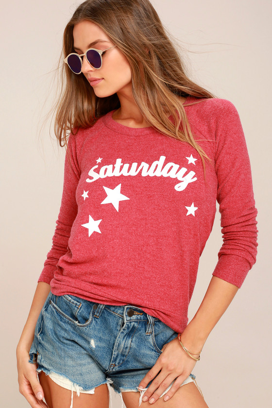 Chaser Saturday Washed Red Backless Sweatshirt 1