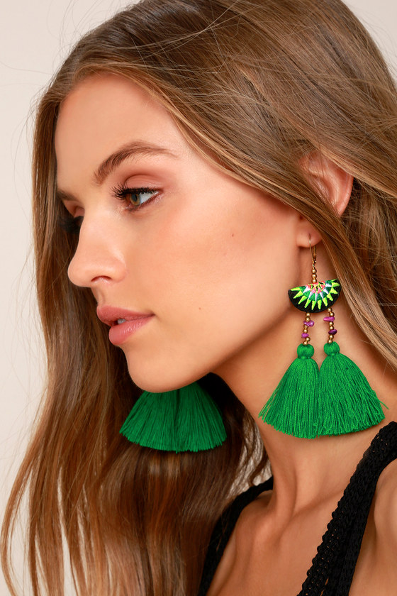 Shashi Delaney Green Tassel Earrings 2