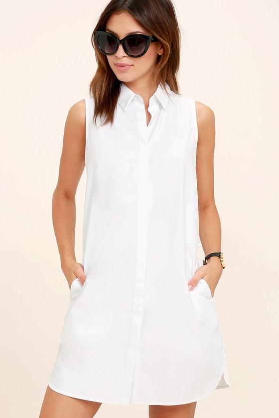 6004449ac490b8 Chic White Dress - Shirt Dress - Button-Up Dress - White Collared Dress -  $43.00