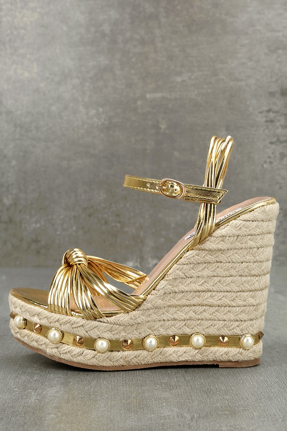 Aegaeon Gold Espadrille Wedges 1