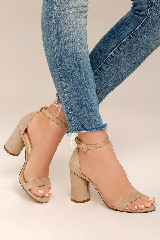 Audrina Nude Suede Ankle Strap Heels 5