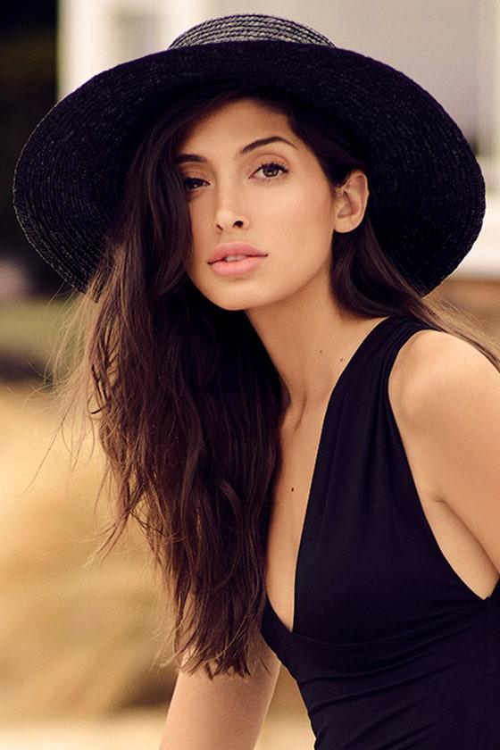 dfb047cda00 Cute Straw Hat - Black Sunhat - Straw Wide Brim Hat - $18.00