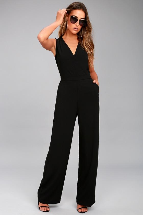 9f2823ee7d0f Black Jumpsuit - Sleeveless Jumpsuit - Wide-leg jumpsuit