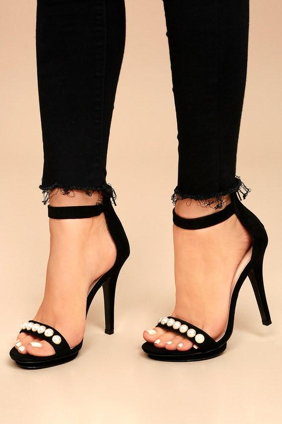 Camille Black Suede Pearl Platform Heels 5