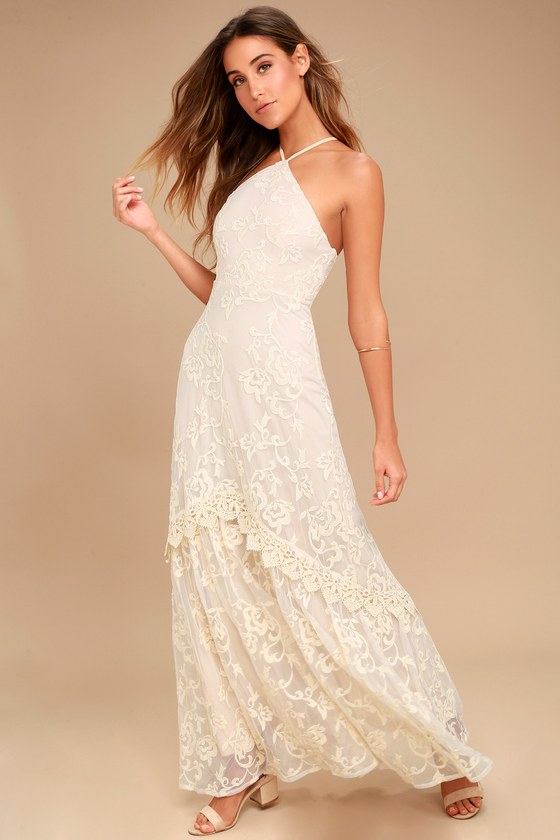 Aspyn Cream Crochet Lace Maxi Dress 2