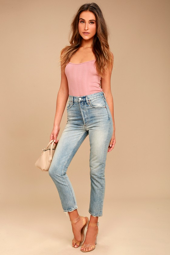 price stylish design new images of AGOLDE Riley High Rise Light Wash Distressed Straight Leg Jeans
