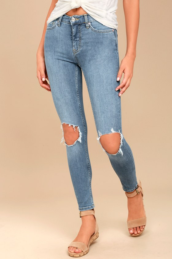 451a7144892f Free People High Rise Busted Light Wash Distressed Skinny Jeans
