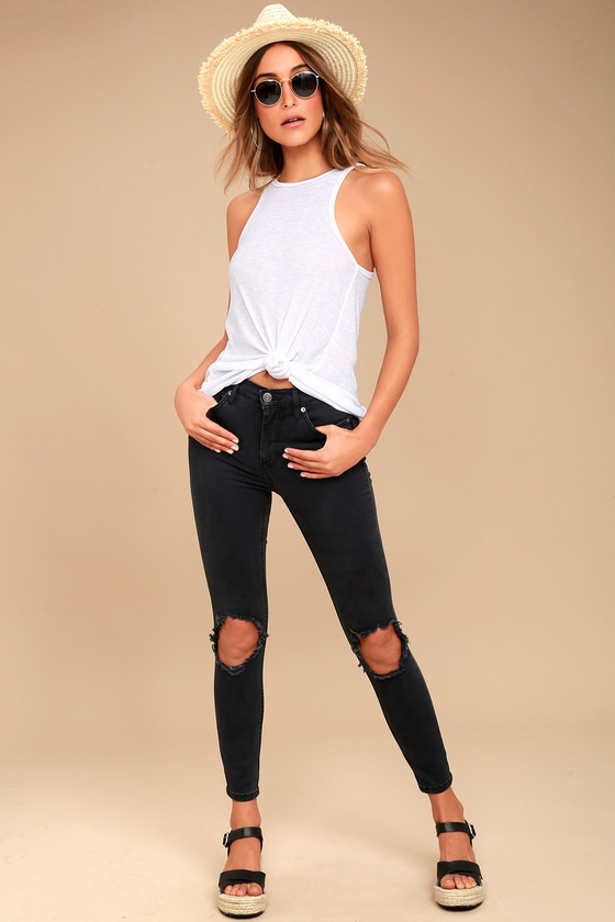 Free People High Rise Busted Black Distressed Skinny Jeans 1