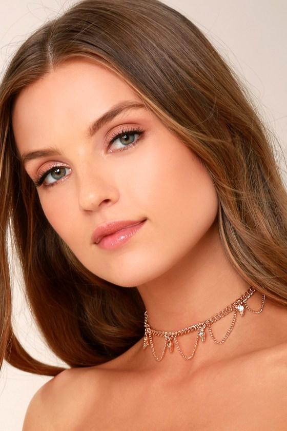 Chic Rose Gold Necklace - Rhinestone Choker Necklace