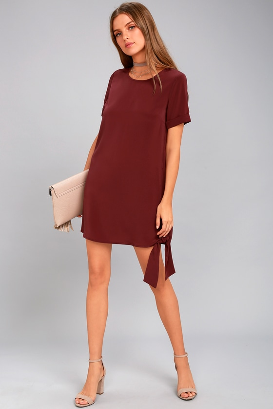 Cute Shift Dress - Causal Dress - Burgundy Dress