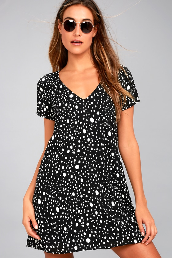 Fun Shift Dress - Polka Dot Dress - Black and White Dress