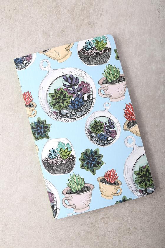 Denik Succulents Light Blue Print Layflat Lined Notebook 1