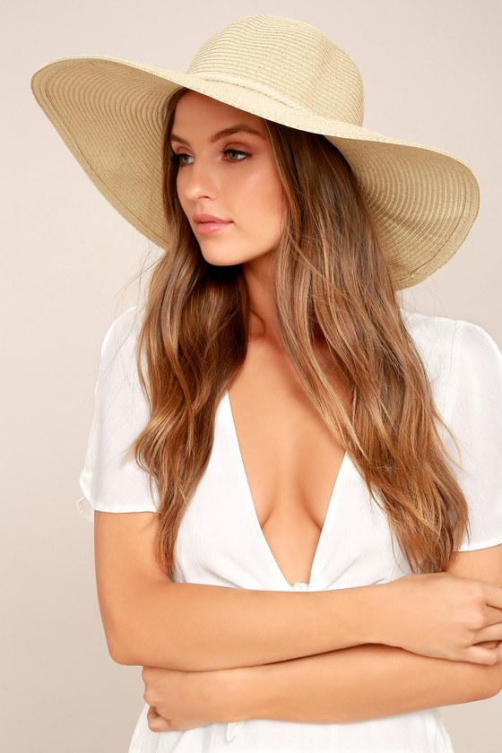Free as a Bird Silver and Beige Floppy Straw Hat 4
