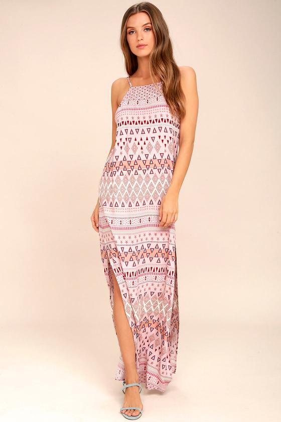 Mosaic Days Blush Pink Print Maxi Dress 1