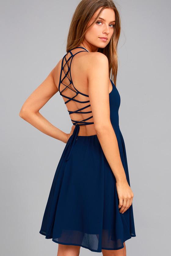 Good Deeds Navy Blue Lace-Up Dress 2