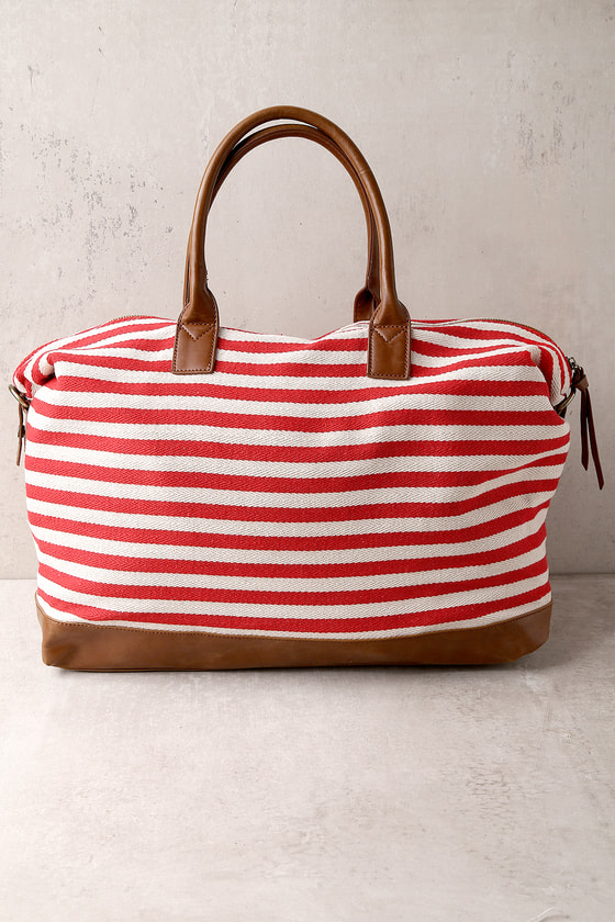 Jet Setter Cream and Red Striped Weekender Bag 4