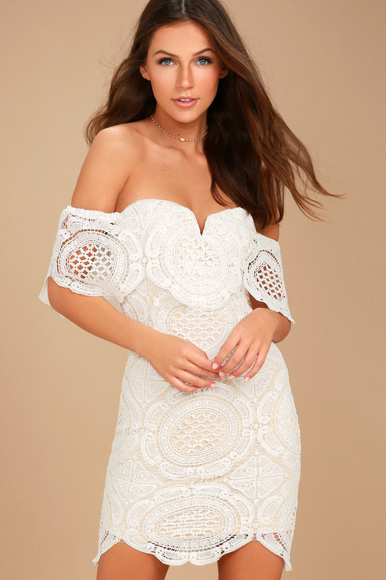 Bellissimo White Lace Off-the-Shoulder Bodycon Dress 2