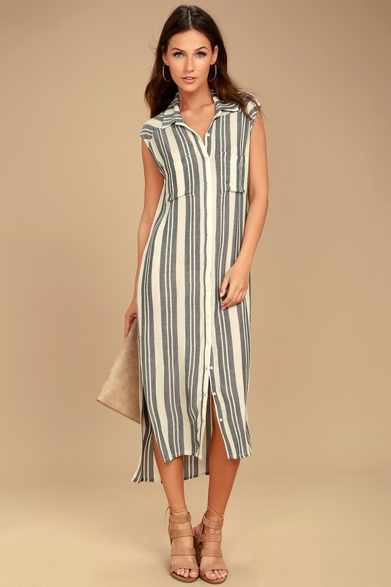 Billabong Mad Times Black and Cream Striped Shirt Dress 1