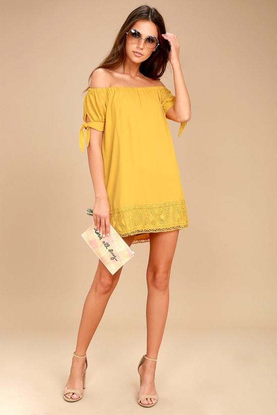 Cute Mustard Yellow Dress - Off-the-Shoulder Dress