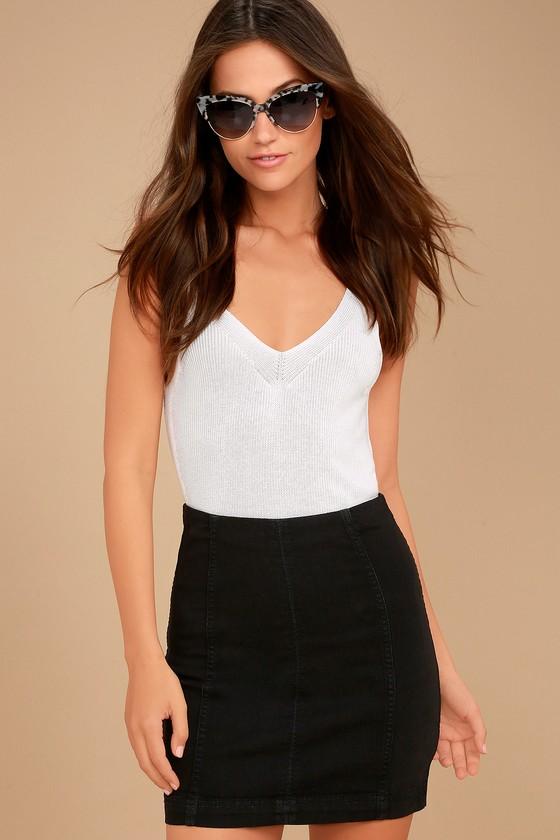 Free People Modern Femme Washed Black Denim Mini Skirt 3