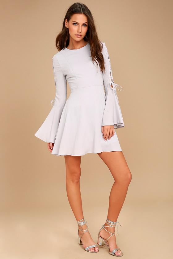 c3e1a32adea Chic Light Grey Dress - Long Sleeve Dress - Skater Dress