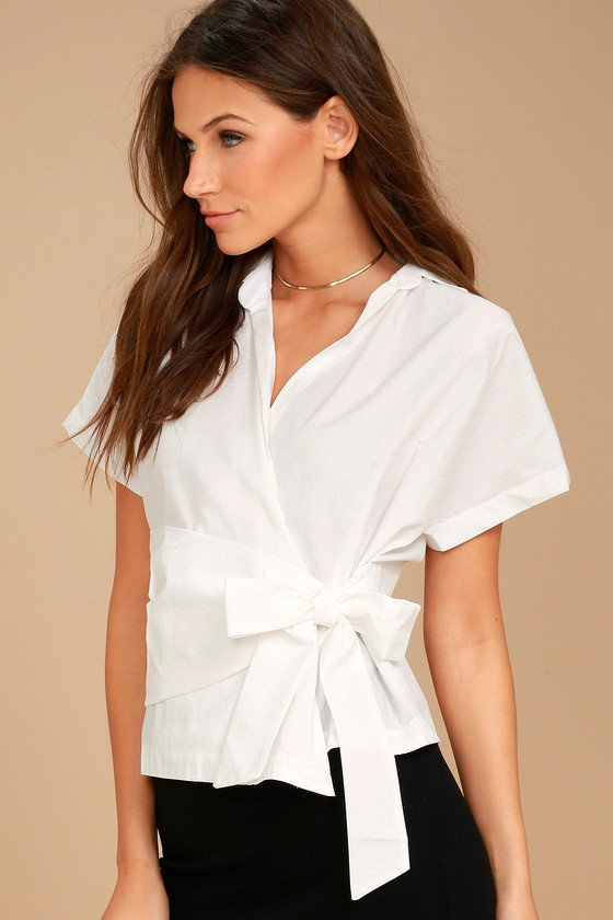 Sure Thing White Wrap Top 1