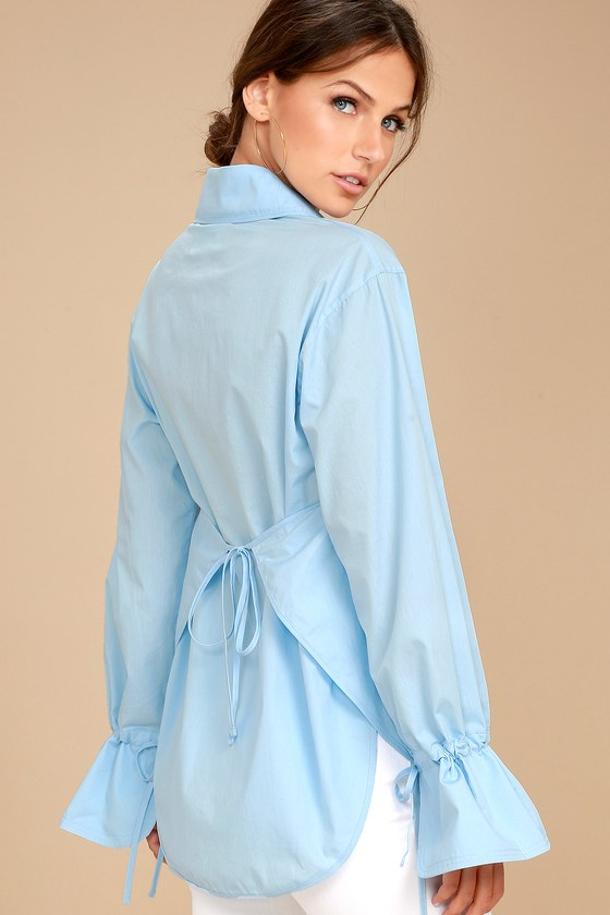 J.O.A. Sweet Magnolia Light Blue Long Sleeve Button-Up Top 2