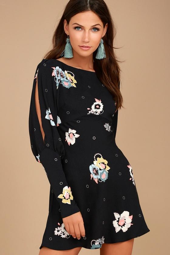 Free People Sunshadows Dress Black Floral Print Dress