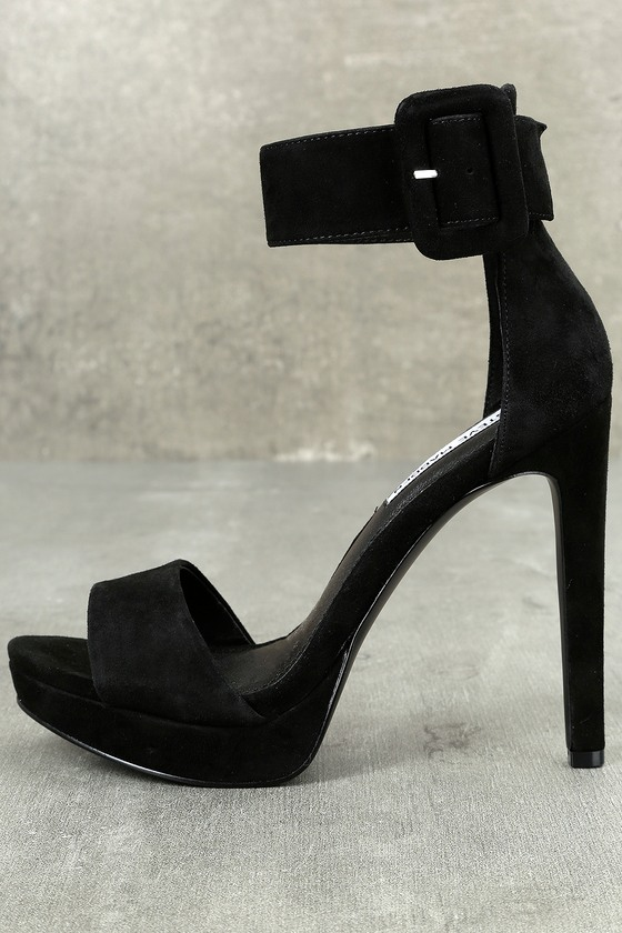 Steve Madden Circuit Black Suede Leather Ankle Strap Heels 1