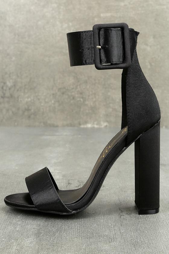 Elina Black Satin Ankle Strap Heels 1