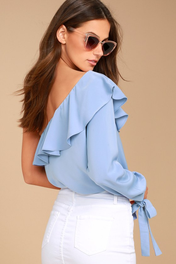 J.O.A. Always Dreaming Periwinkle Blue One Shoulder Top 4
