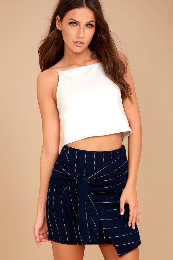 J.O.A. Navy Blue Striped Skirt - Wrap Mini Skirt - Tie Skirt