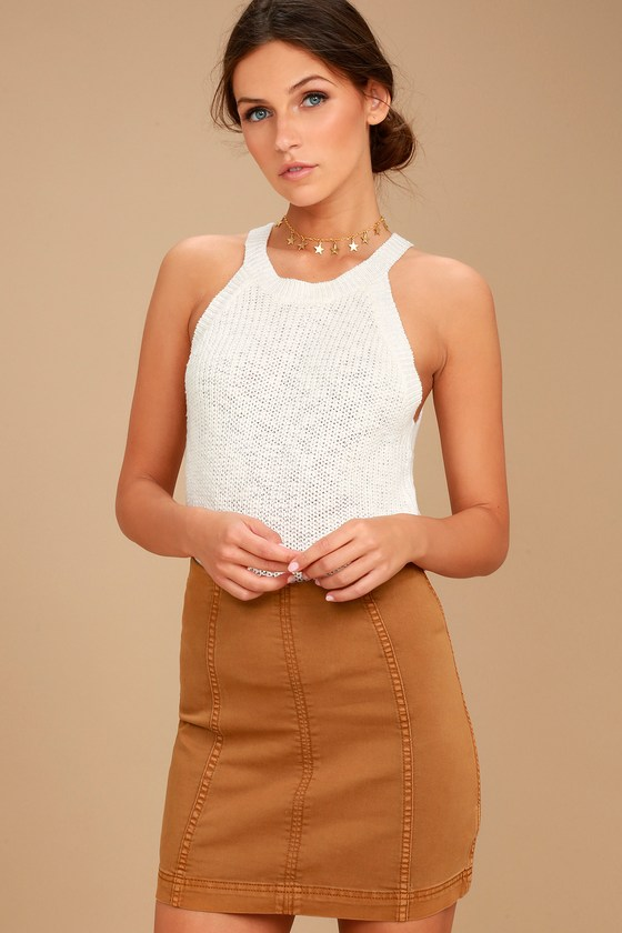 Free People Modern Femme Tan Denim Mini 3