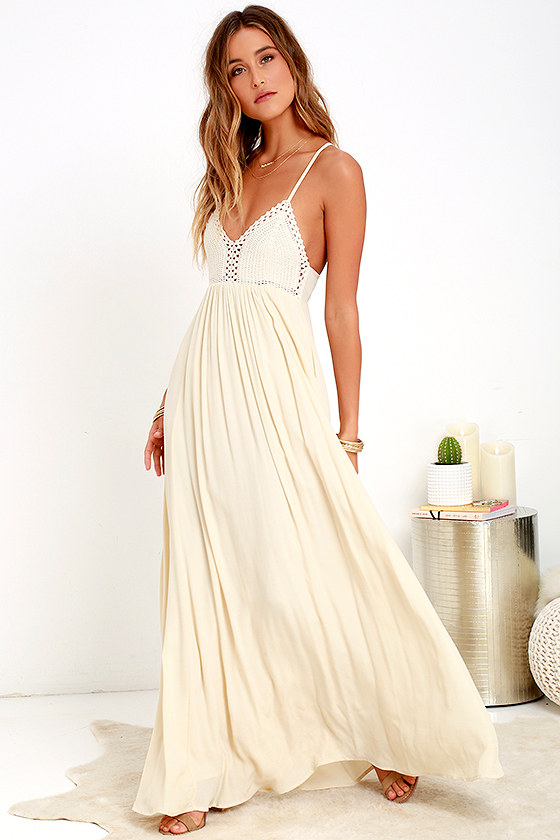 9d185b9cb35a Lovely Cream Dress - Maxi Dress - Boho Dress -  78.00