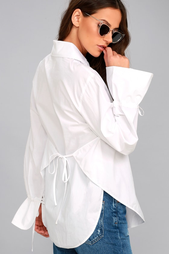 J.O.A. Sweet Magnolia White Long Sleeve Button-Up Top 2