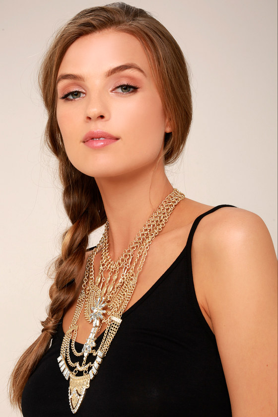 All Fleur You Gold Rhinestone Layered Statement Necklace 1