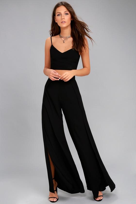 4dd8105b5b5 Chic Black Jumpsuit - Two-Piece Jumpsuit - Lace-Up Jumpsuit