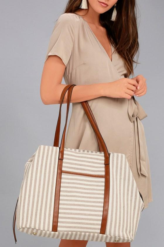 High Standards Tan Striped Tote Bag 1