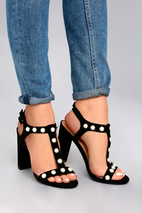 Zelina Black Pearl Suede High Heel Sandals 5