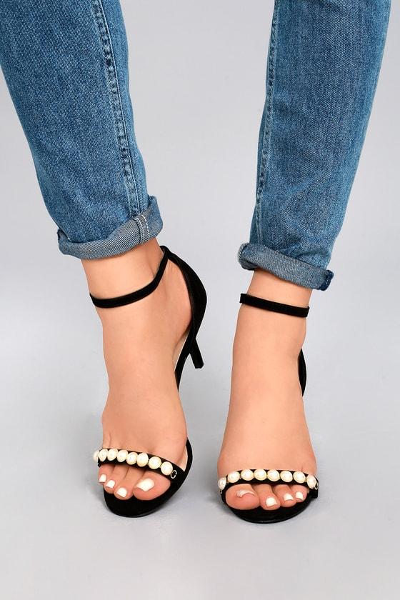 Uma Black Suede Pearl Ankle Strap Heels 5
