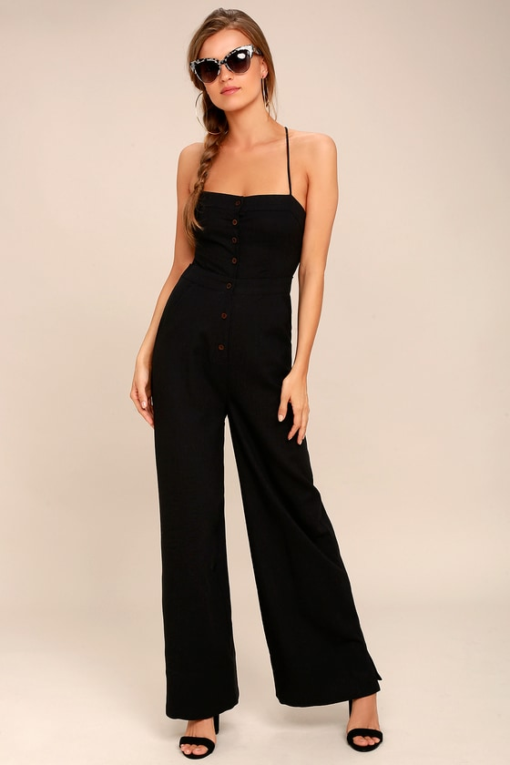 Beach Day Black Backless Jumpsuit 1