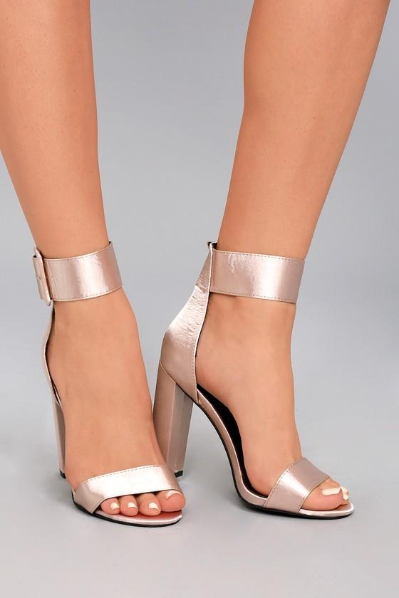 Elina Taupe Satin Ankle Strap Heels 5