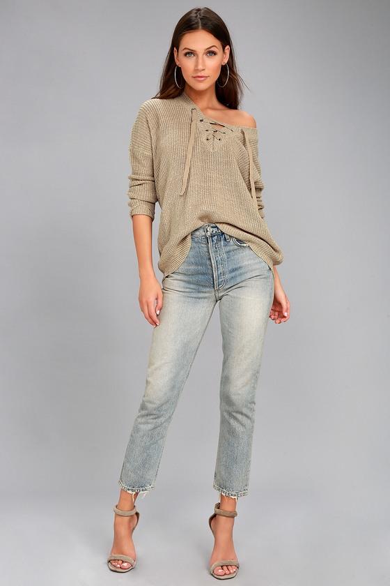 Jack by BB Dakota Willard Sweater - Beige Lace-Up Sweater 3ad87f31c
