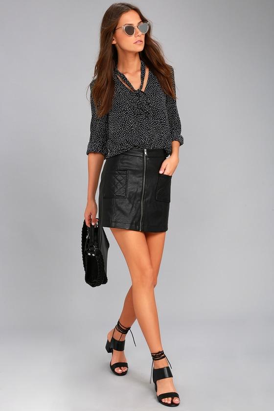 Jack by BB Dakota Cohen Black Vegan Leather Mini Skirt 1