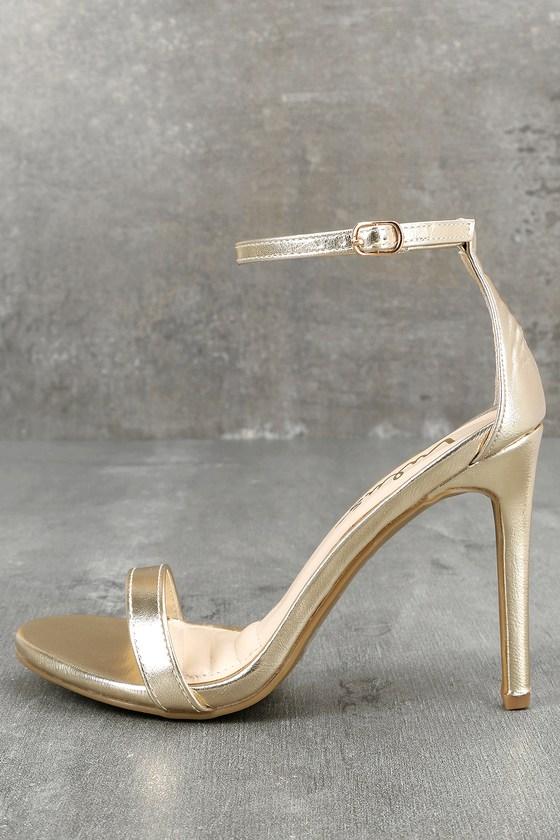 1db3d7ba016a Cute Gold Heels - Ankle Strap Heels - Single Strap Heels