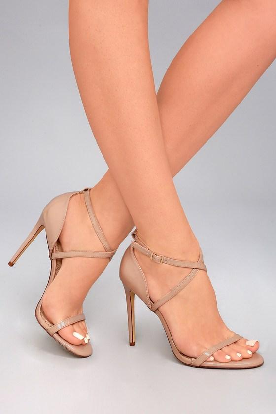 High heel sandals in nude patent - online shoe store Pura