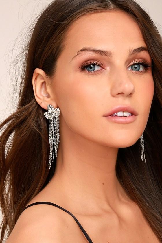 Stunning Starlet Silver Rhinestone Earrings 1