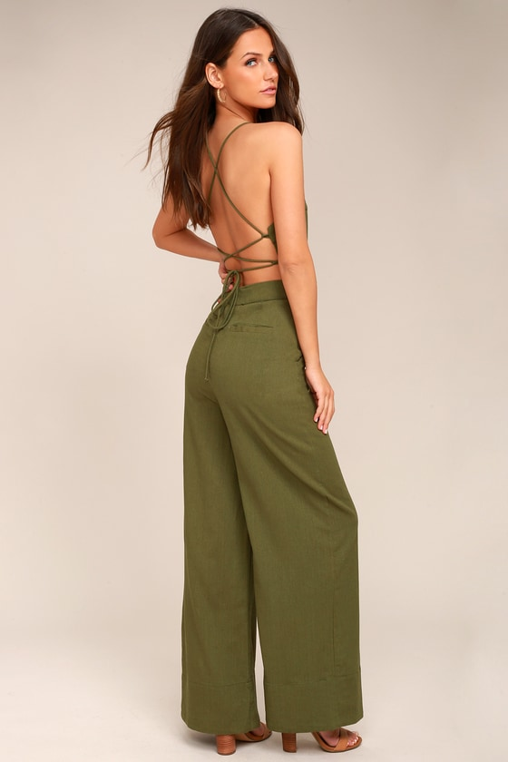 3ed672f4b78 Olive Green Jumpsuit - Lace-Up Jumpsuit - Backless Jumpsuit